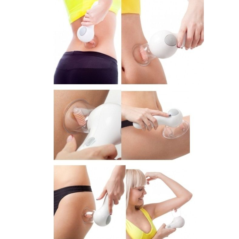 Вакуумный массажер Целлюлес (Cellules). Перемещая вакуумный массажер Целлюлес по коже, с помощью ползунка, выберите необходимую мощность всасывания, и аккуратными круговыми движениями массируйте выбранную зону.